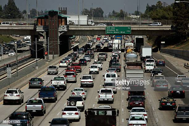 Pasadena, July 20, 2007 – – – East bound traffic crawls on 210 Freeway on Friday afternoon.