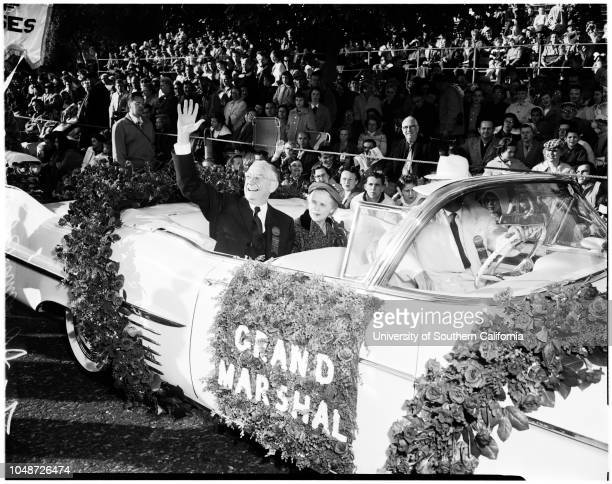 Pasadena Tournament of Roses Parade, 01 January 1958. San Diego;Union Oil;Portland;Bakers Union;Sierra Madre;Torrance;Ohio...