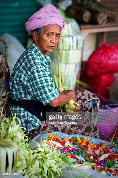 Pasar Kuta Bali Indonesia Market, woman, seller, flowers, basket, offering basket