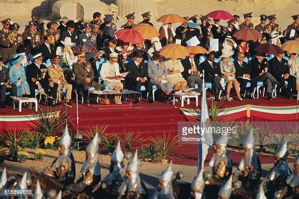 Royalty from all over the world watch the parade of soldiers in the ancient Persian dress commemorating the 2000th anniversary of monarchy in Iran...