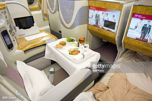 Pasay City Philippines A general view of the Business Class section of the Emirates' A380 which arrived in a oneoff trip to Manila at the Ninoy...