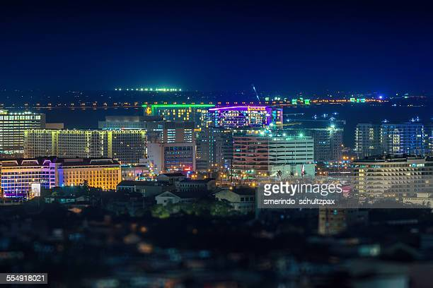 pasay city skyline - manila bay stock photos and pictures