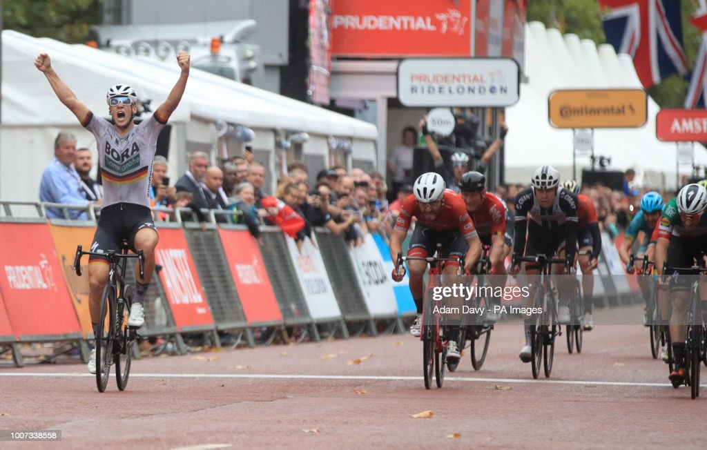 Pascal Ackermann celebrates winning the Prudential RideLondon Surrey