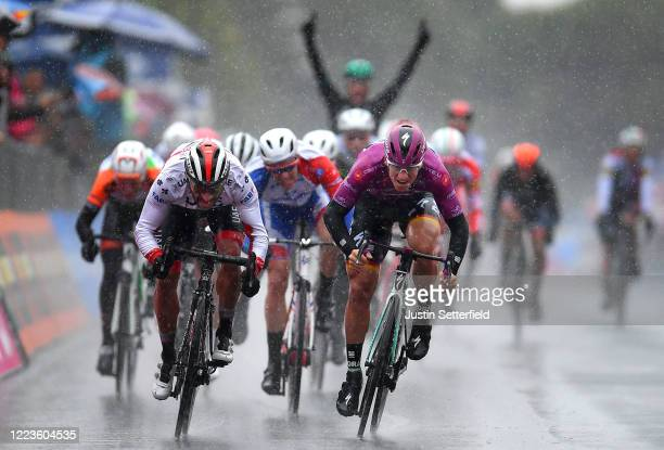 Pascal Ackermann of Germany and Team Bora - Hansgrohe beats Fernando Gaviria Rendon of Colombia and UAE - Team Emirates in a sprint finish during the...