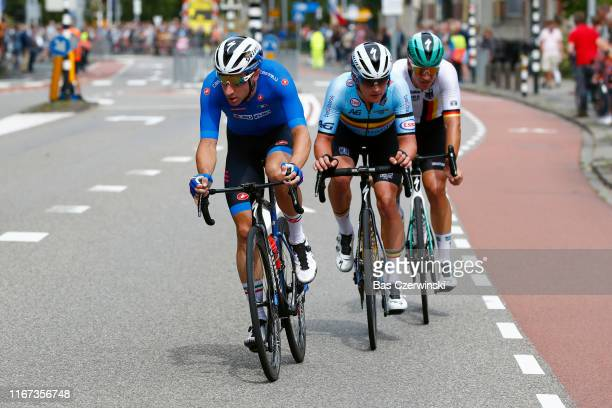 Pascal Ackermann of Germany / Yves Lampaert of Belgium / Elia Viviani of Italy / during the 25th UEC Road European Championships 2019 - Elite Men's...