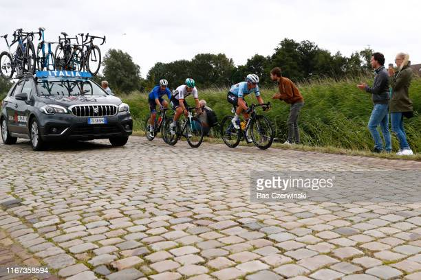 Pascal Ackermann of Germany / Yves Lampaert of Belgium / Elia Viviani of Italy / Cobblestones / during the 25th UEC Road European Championships 2019...