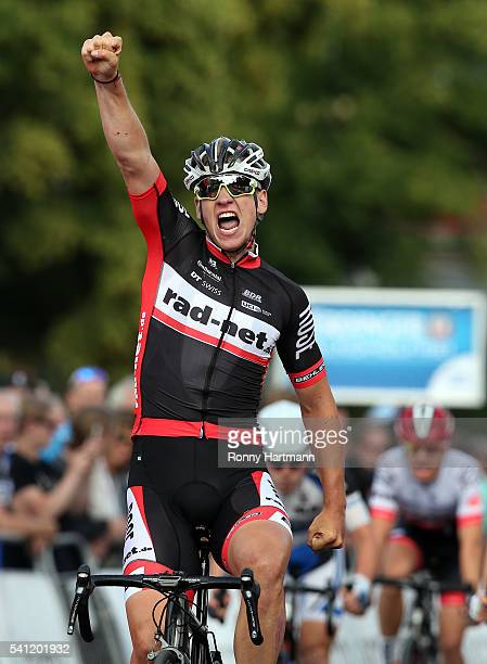 Pascal Ackermann of RadNet Rose team celebrates after winning the U23 German National Road Race Championships during the Velothon Berlin 2016 event...