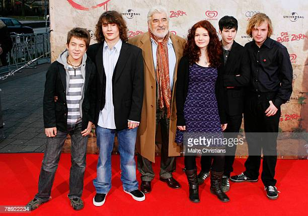 Pascal Andreas David Berton Mario Adorf Linn Reusse Jakob Knoblauch and Woody Mues are seen on on the red carpet during the premiere of 'Die Rote...