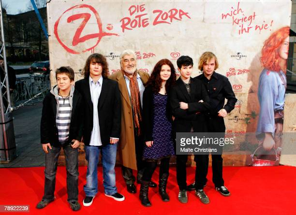 Pascal Andreas David Berton Mario Adorf Linn Reusse Jakob Knoblauch and Woody Mues are seen on the red carpet during the premiere of 'Die Rote Zora'...
