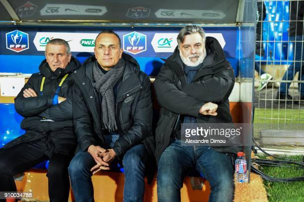 Pascal Baills assistant coach head coach Michel Der Zakarian Coach and Laurent Nicollin President of Montpellier during the French National Cup match...
