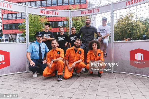 Pascal Beausencourt, Nils Effinghausen, Aylin Raren, Kevin Kuranyi, Edward van Gils and guests pose for a picture during the launch event for Insight...