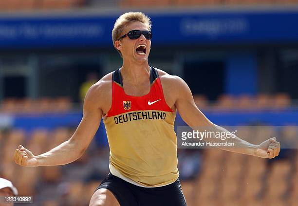 Pascal Behrenbruch of Germany celebrates during the pole vault in the men's decathlon during day two of the 13th IAAF World Athletics Championships...