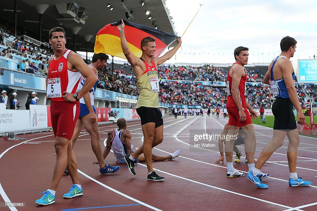 Pascal Behrenbruch of Germany celebrates winning the Men's Decathlon during day two of the 21st European Athletics Championships at the Olympic Stadium on June 28, 2012 in Helsinki, Finland