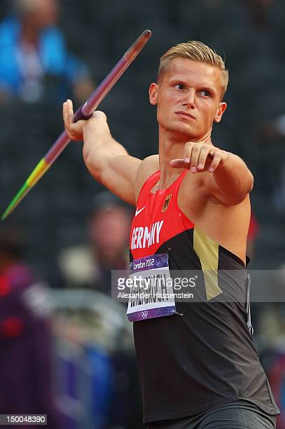 Pascal Behrenbruch of Germany competes during the Men's Decathlon Javelin Throw on Day 13 of the London 2012 Olympic Games at Olympic Stadium on...