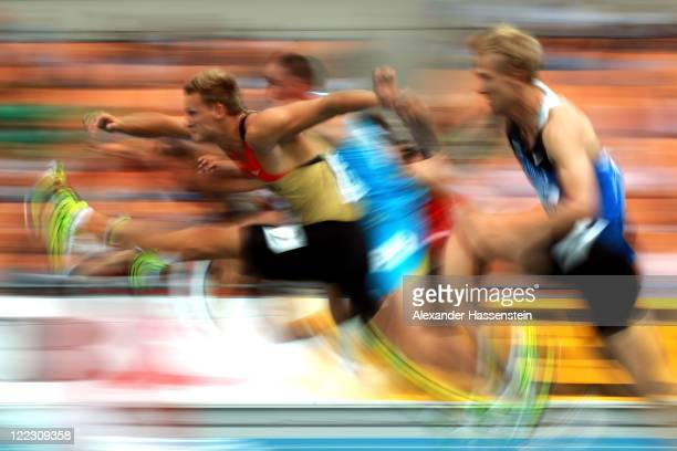 Pascal Behrenbruch of Germany competes in the 110 metres hurdles in the men's decathlon during day two of the 13th IAAF World Athletics Championships...