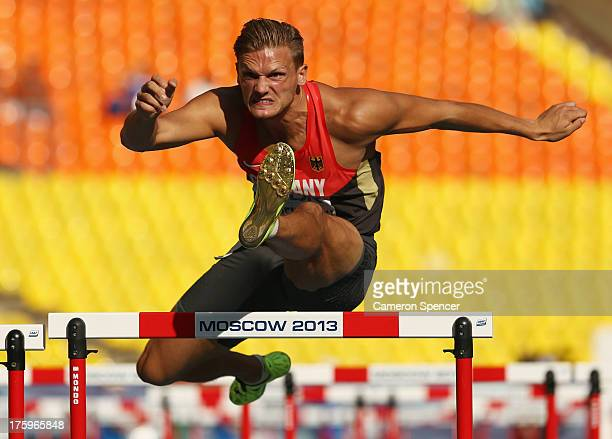 Pascal Behrenbruch of Germany competes in the Men's Decathlon 110 metres hurdles during Day Two of the 14th IAAF World Athletics Championships Moscow...