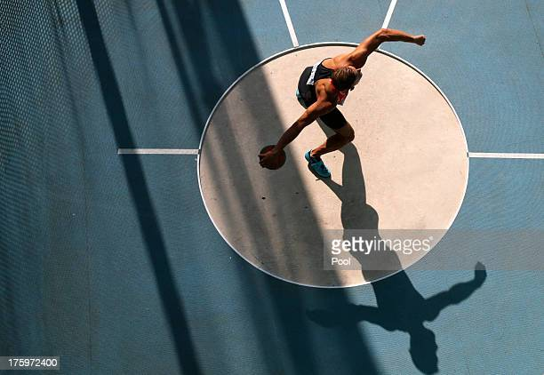 Pascal Behrenbruch of Germany competes in the men's decathlon discus throw event during Day Two of the 14th IAAF World Athletics Championships Moscow...