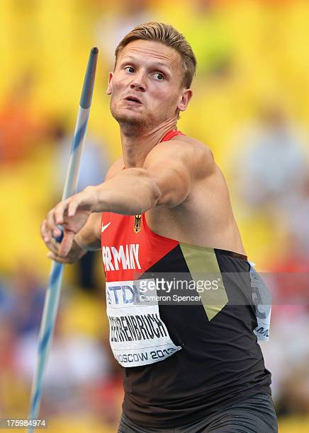 Pascal Behrenbruch of Germany competes in the Men's Decathlon Javelin during Day Two of the 14th IAAF World Athletics Championships Moscow 2013 at...