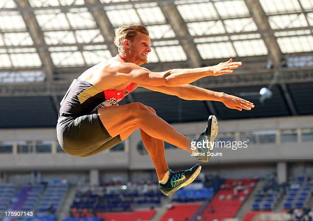 Pascal Behrenbruch of Germany competes in the Men's Decathlon Long Jump during Day One of the 14th IAAF World Athletics Championships Moscow 2013 at...