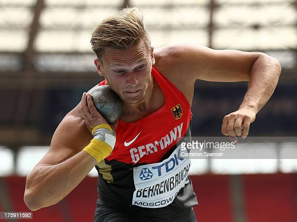 Pascal Behrenbruch of Germany competes in the Men's Decathlon Shot Put during Day One of the 14th IAAF World Athletics Championships Moscow 2013 at...
