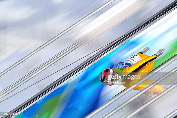 Pascal Bodmer of Germany competes during the Ski Jumping Normal Hill Individual Qualification Round of the 2010 Winter Olympics at Whistler Olympic...