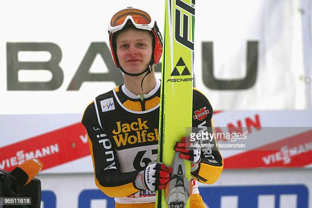 Pascal Bodmer of Germany looks on after the qualification round of the FIS Ski Jumping World Cup event of the 58th Four Hills ski jumping tournament...