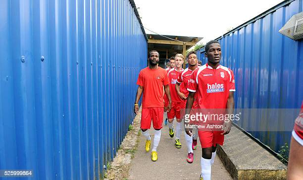 Pascal Chimbonda of Market Drayton Town makes his way to the pitch before kick off Pascal Chimbonda is on Trial with Market Drayton Town Football...