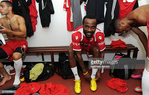 Pascal Chimbonda of Market Drayton Town prepares himself before kick off Pascal Chimbonda is on Trial with Market Drayton Town Football Club of the...