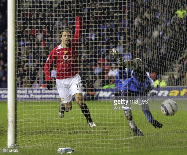 Pascal Chimbonda of Wigan Athletic scores an owngoal during the Barclays Premiership match between Wigan Athletic and Manchester United at the JJB...