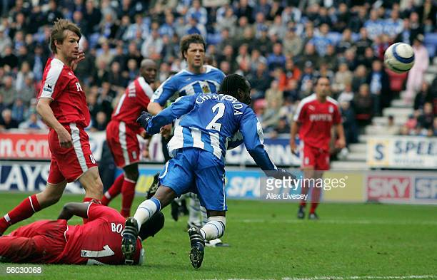 Pascal Chimbonda of Wigan Athletic scores the winning goal during the Barclays Premiership match between Wigan Athletic and Fulham at the JJB Stadium...
