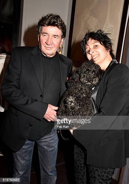 Pascal Danel his wife Florence Danel and dog Diabolo attend 'Guitar Tribute' by Golden disc awarded Jean Pierre Danel at Hotel Burgundy on April 7...