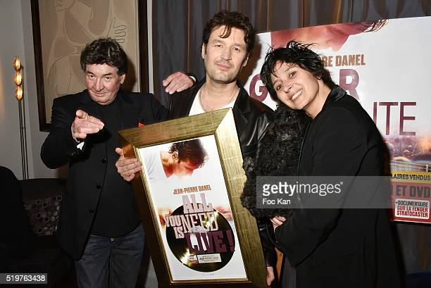 Pascal Danel Jean Pierre Danel his mother in law Florence Danel and dog Diabolo attend 'Guitar Tribute' by Golden disc awarded Jean Pierre Danel at...