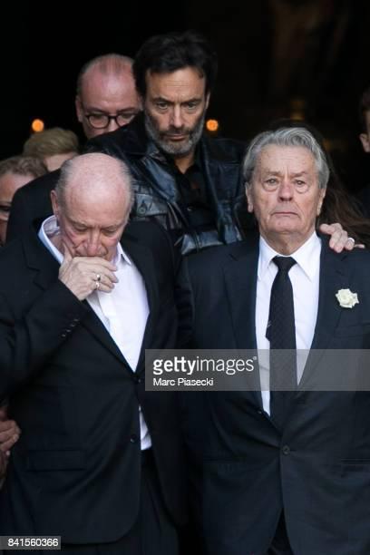 Pascal Desprez Anthony Delon and actor Alain Delon attend actress Mireille Darc's Funerals at Eglise SaintSulpice on September 1 2017 in Paris France
