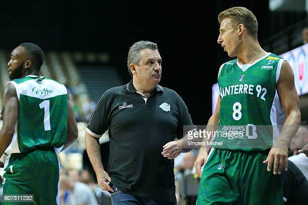 Pascal Donadieu headcoach of Nanterre and Heiko Schaffartzik during the match for the 3rd and 4th place between Nanterre and Khimki Moscow at...