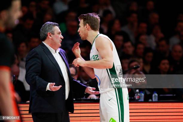 Pascal Donnadieu head coach and Heiko Schaffartzik of Nanterre during the Leaders Cup match between Le Mans and Nanterre 92 at Disneyland Resort...