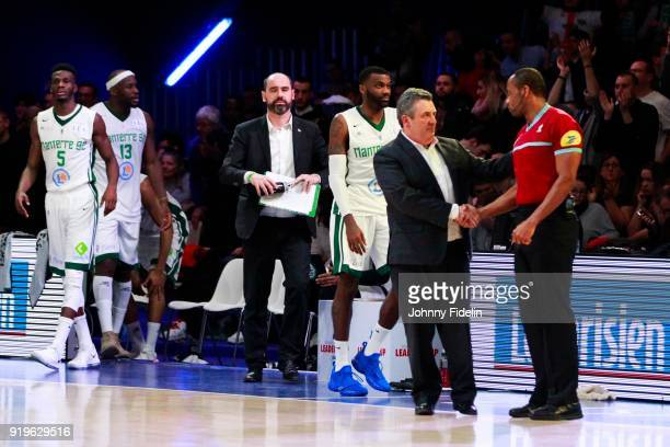 Pascal Donnadieu head coach of Nanterre looks dejected after the defeat the Leaders Cup match between Le Mans and Nanterre 92 at Disneyland Resort...