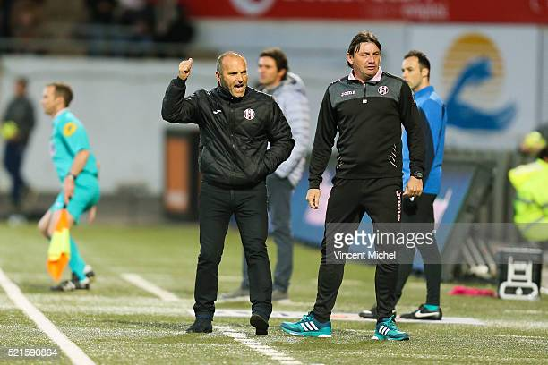 Pascal Dupraz headcoach of Toulouse and Mickael Debeve during the French Ligue 1 between Lorient and Toulouse at Stade du Moustoir on April 16, 2016...