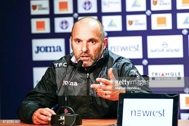 Pascal Dupraz new Head coach of Toulouse talks during a press conference at Stadium Municipal on March 2 2016 in Toulouse France