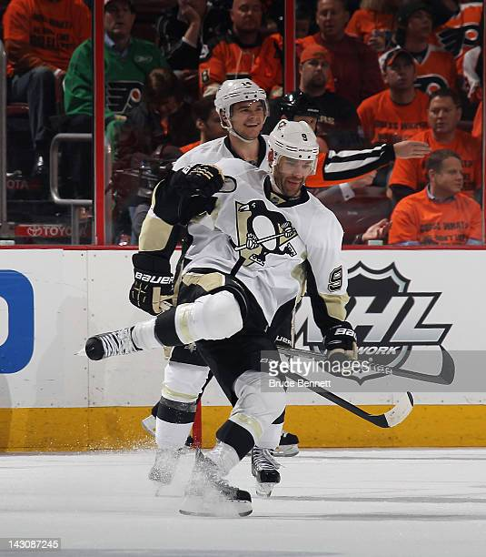 Pascal Dupuis of the Pittsburgh Penguins celebrates his goal at 1459 of the second period against the Philadelphia Flyers in Game Four of the Eastern...