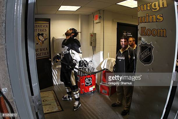 Pascal Dupuis of the Pittsburgh Penguins waits in the locker room entrance prior to playing the Philadelphia Flyers in game one of the 2008 NHL...
