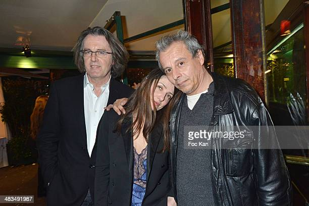 Pascal Dusapin, a guest and Gregoire Bouillier attend La Closerie Des Lilas Literary Awards 2014 - 7th at La Closerie Des Lilas on April 8, 2014 in...