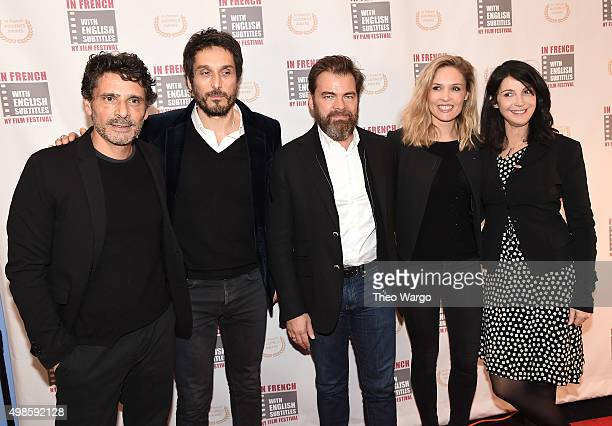 Pascal Elbe Vincent Elbaz Clouis Cornillac Lilou Fogli and Zabou Bieitman attend the 2015 In French With English Subtitles NY Film Festival Opening...