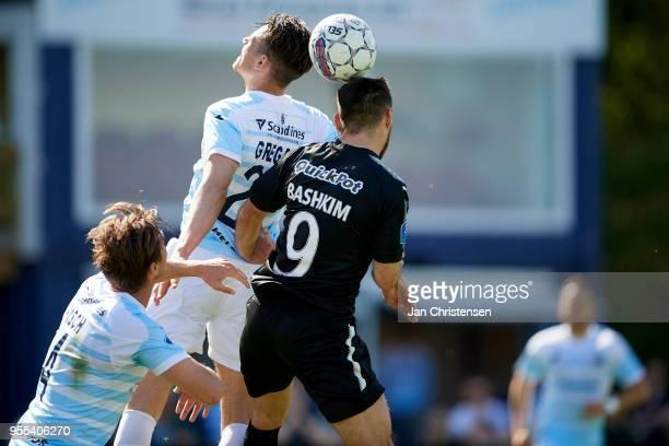 Pascal Gregor of FC Helsingor and Bashkim Kadrii of Randers FC heading the ball during the Danish Alka Superliga match between FC Helsingor and...
