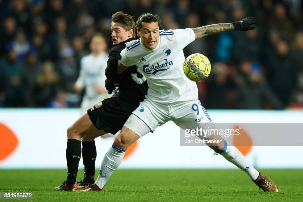 Pascal Gregor of FC Nordsjalland and Federico Santander of FC Copenhagen compete for the ball during the Danish Alka Superliga match between FC...