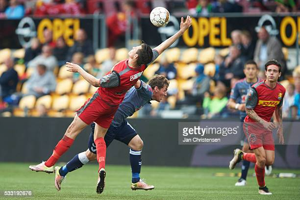 Pascal Gregor of FC Nordsjalland has hands on the ball during the Danish Alka Superliga match between FC Nordsjalland and AGF Arhus at Right to Dream...