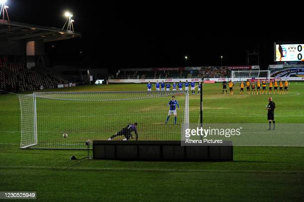 Pascal Groß of Brighton & Hove Albion scores a penalty during the FA Cup Third Round match between Newport County and Brighton And Hove Albion at...