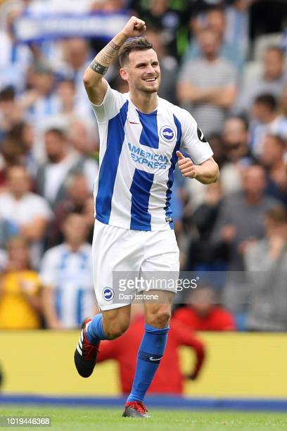 Pascal Gross of Brighton and Hove Albion celebrates after scoring his team's third goal during the Premier League match between Brighton Hove Albion...
