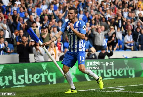 Pascal Gross of Brighton and Hove Albion celebrates scoring his sides second goal during the Premier League match between Brighton and Hove Albion...