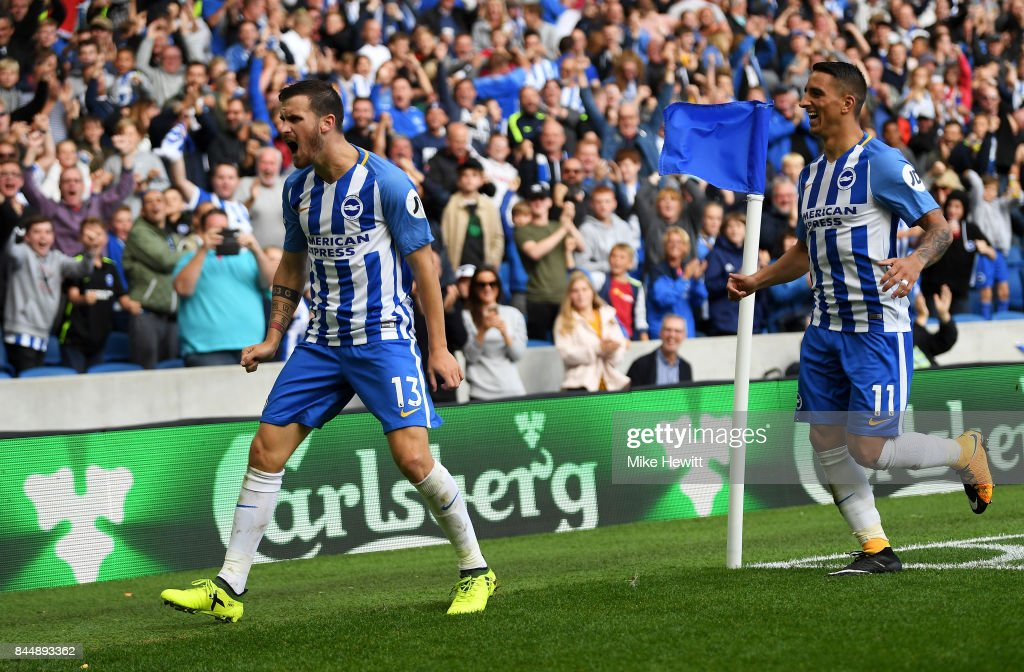Pascal Gross of Brighton and Hove Albion celebrates scoring his sides second goal during the Premier League match between Brighton and Hove Albion and West Bromwich Albion at Amex Stadium on September 9, 2017 in Brighton, England.