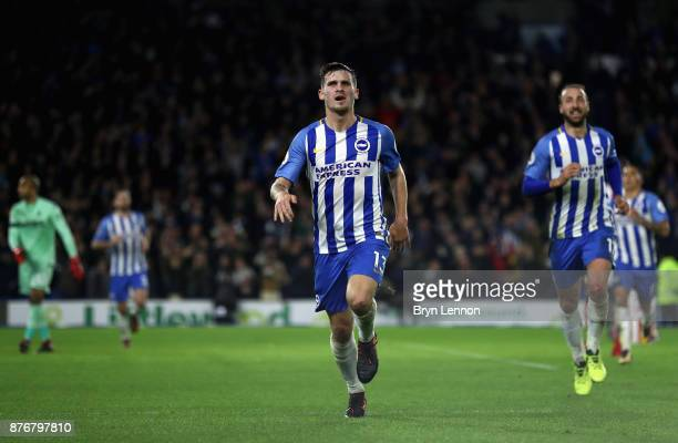 Pascal Gross of Brighton and Hove Albion celebrates scoring his side's first goal during the Premier League match between Brighton and Hove Albion...